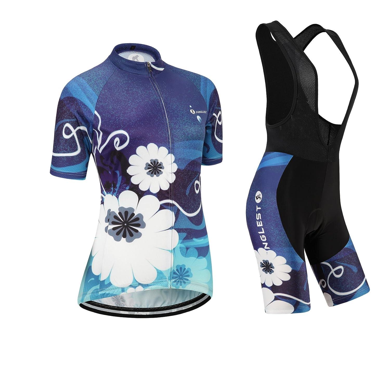 Cycling Jersey Setレディース半袖( S ~ 5 X L、オプション:よだれかけ、3dパッド) n252 B01BX2ZWPQ  種類: セット(ブラック前掛け) (General pad)(Bust 43-45inchs)