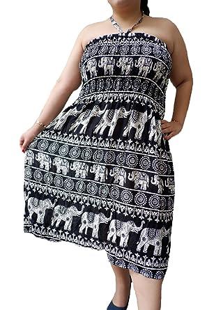 Ellie Brand 3 Ways Convertible Smock Dress Skirt Elephant Print Plus ...