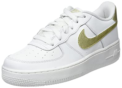 gold and white air force 1