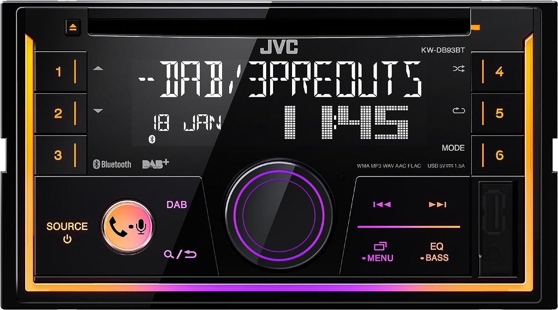 Bluetooth et Fonction Mains-Libres et audiostraming Noir JVC KW db93bt Double DIN R/écepteur CD avec Radio num/érique Dab