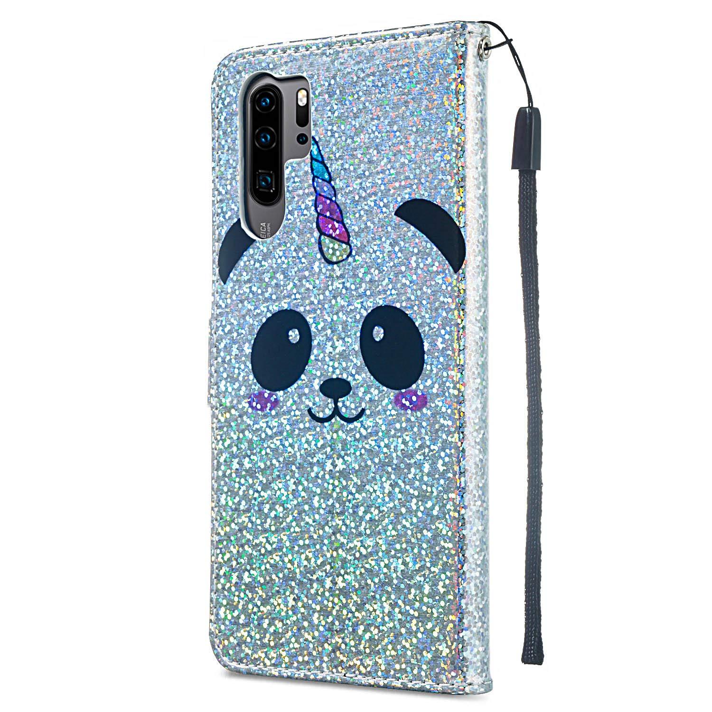 Panda Handyh/ülle Huawei P30 Lite Glitzer H/ülle 3D Muster Lederh/ülle Flip Case Ultrad/ünn Tasche Kartenfach Stand Function Brieftasche Etui Klapph/ülle M/ädchen HUDDU Huawei P30 Lite Schutzh/ülle