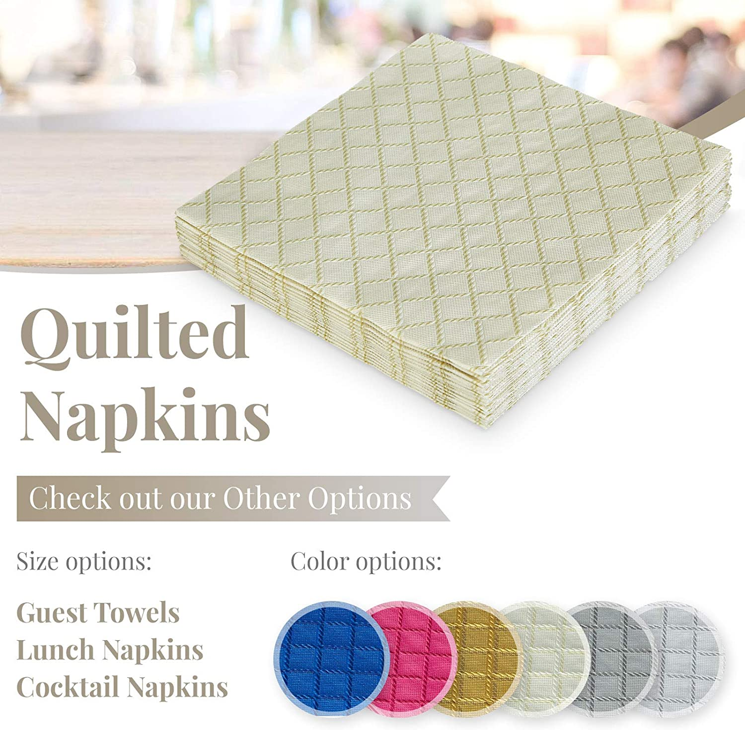 European Made for Upscale Wedding and Dining Gold 16 pc DISPOSABLE QUILTED COCKTAIL NAPKINS