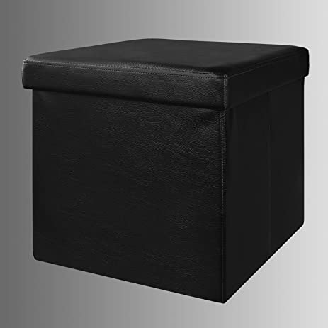Haotian Faux Leather Storage Ottoman,folding Storage Bench With Seat  Cushion ,FSS22 SCH