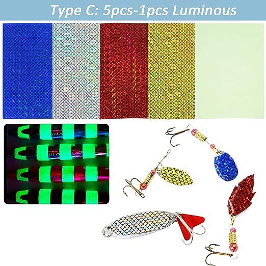1 Sheet Luminous Fishing Bait Sticker 20x10cm DIY Sequins Iron Plate Bionic Bait