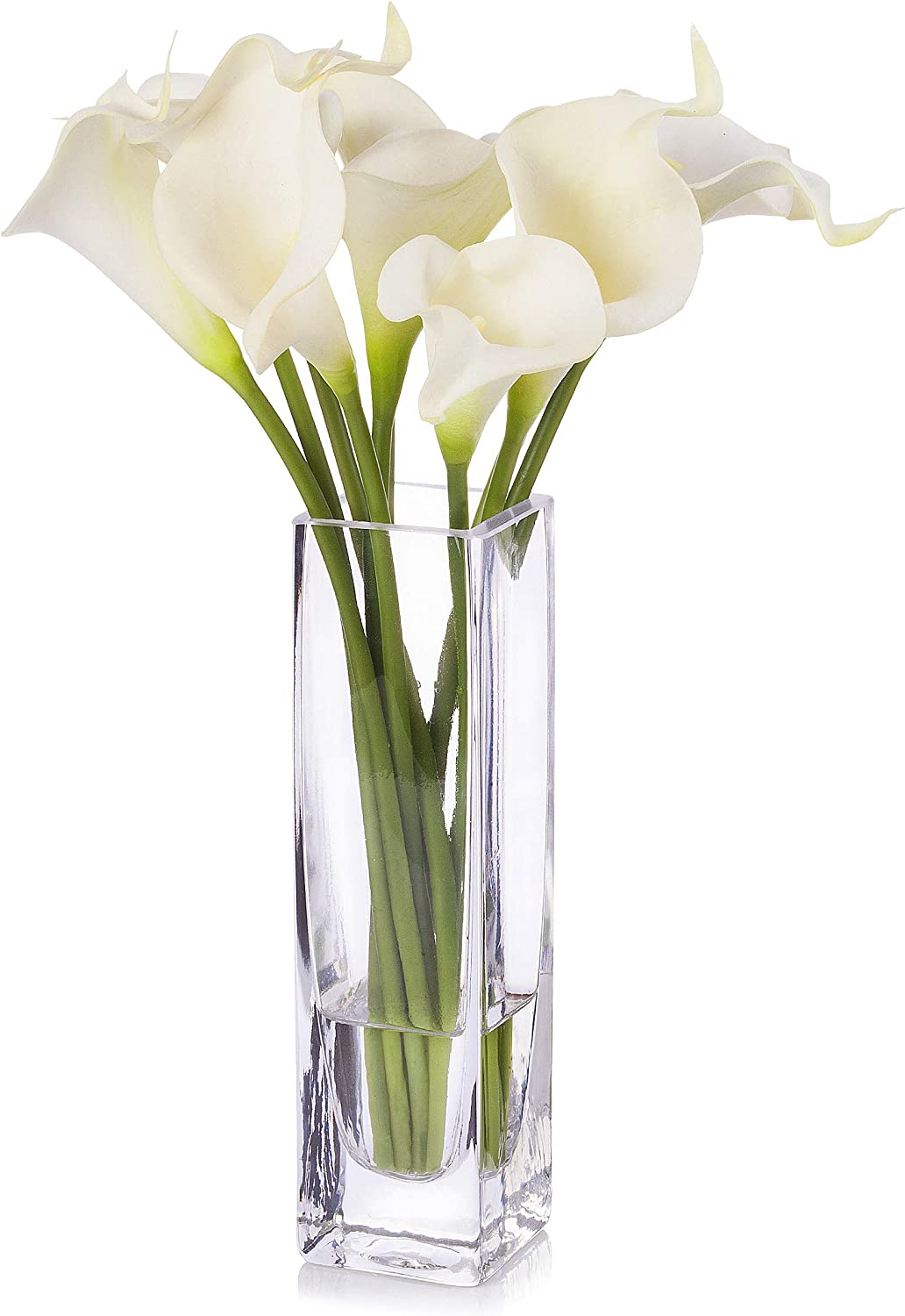 Enova Home Artificial Cream Real Touch Calla Lily Flower Arrangement in Clear Glass Vase with Faux Water for Home Wedding Decoration