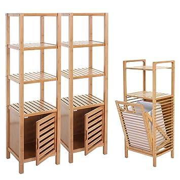 Mendler Badezimmer Set Narita, Badschrank Standregal Wäschekorb, Bambus  3 Teilig