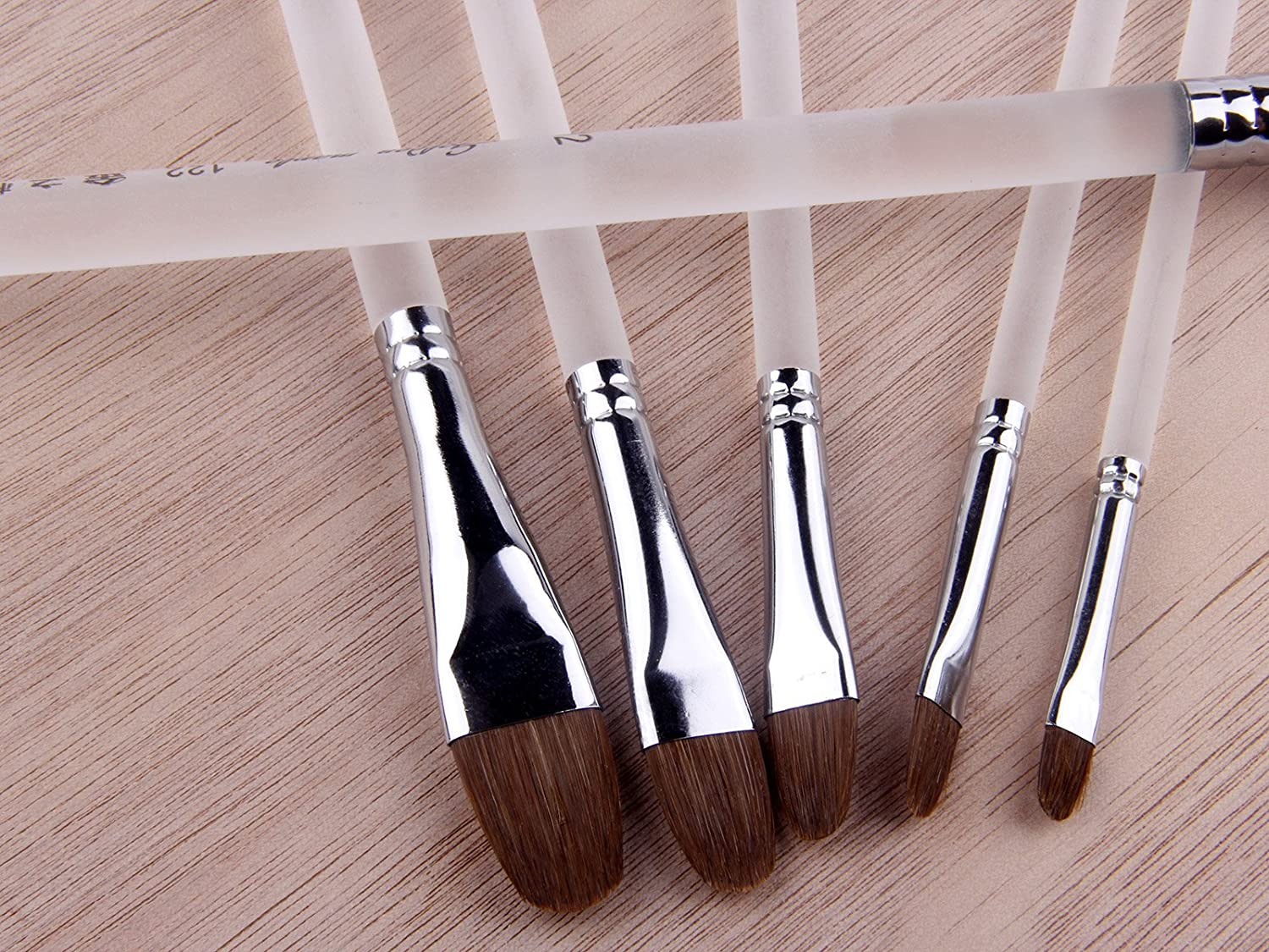 Red Sable Weasel Hair Artist Paint Brushes for Watercolor Painting Filbert Brush Clear Plastic Handle 6Pcs