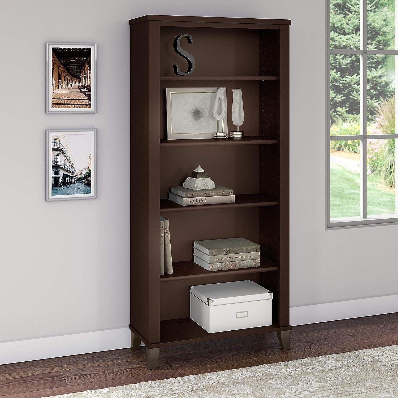 Bush Furniture Somerset 5 Shelf Bookcase in Mocha Cherry