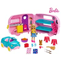 Barbie Club Chelsea Camper Playset with Chelsea Doll, Puppy, Car, Camper, Firepit...