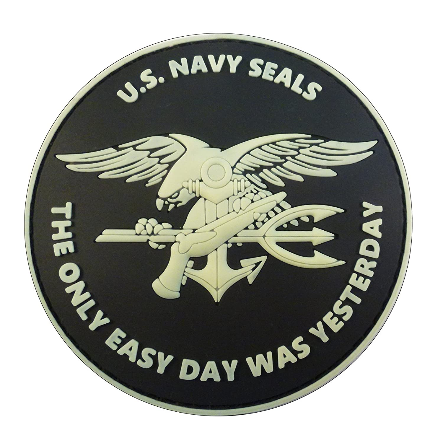 Glow Dark US Navy Seals The Only Easy Day Was Yesterday DEVGRU Morale PVC Fastener Patch: Amazon.es: Deportes y aire libre