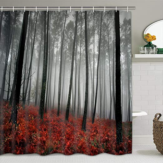 modern timesm Bathroom Shower Curtain Mystic Forest Bathroom Curtain with 12