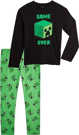 Minecraft Pijama Nino Ropa Para Nino Algodon 100 Conjunto Dos Piezas Con Camiseta Manga Larga Y Pantalones Regalos Para Ninos Y Adolescentes 5 14 Anos 11 12 Anos Negro Amazon Es Ropa Y Accesorios