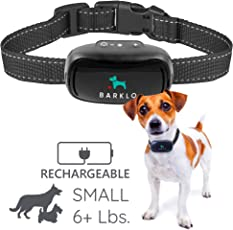 Barklo Small Dog Bark Collar For Tiny To Medium Dogs by Rechargeable And Waterproof Vibrating Anti Bark Training Device - Smallest & Most Safe On Amazon - No Shock No Spiky Prongs! (6+ lbs)