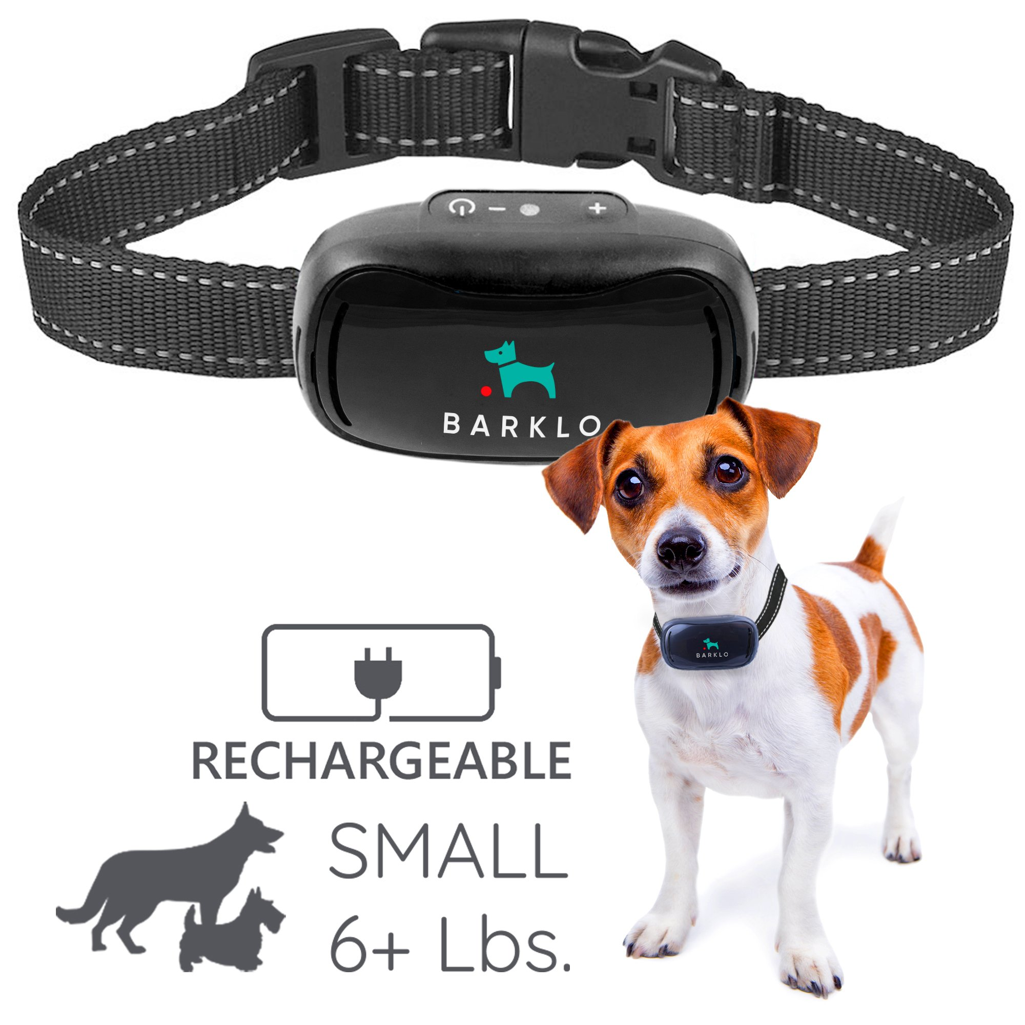 Barklo Small Dog Bark Collar for Tiny to Medium Dogs Rechargeable and Waterproof Vibrating Anti Bark Training Device - Smallest & Most Safe On Amazon - No Shock No Spiky Prongs! (6+ lbs)