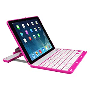 Bluetooth Keyboard Case Compatible Apple iPad Air 1 360 Degree Rotation Multi-Angel Stand(Pink)