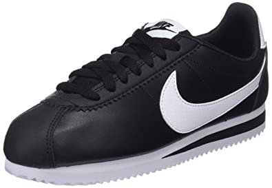 premium selection 26d7d afc34 Nike WMNS Classic Cortez Leather, Baskets Femme, Noir Blanc 016, 36.5 EU
