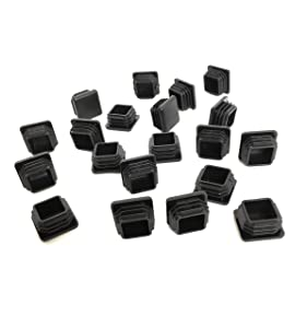 1 Inch Square Tubing End Caps (20 PK) (14-20 Gauge for Thinner Wall Tubing) Plastic Plugs/End Caps/Plastic End Caps/Plastic Plugs for Square Tubing/Black Plastic Square Plugs
