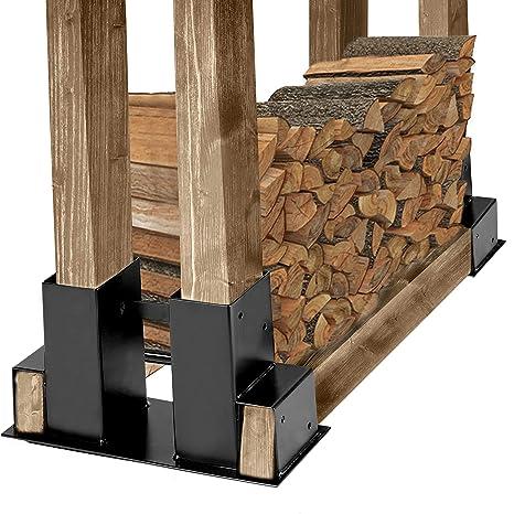 Vivohome Steel Adjule Firewood Log Rack Brackets Kit Black 2 Pieces
