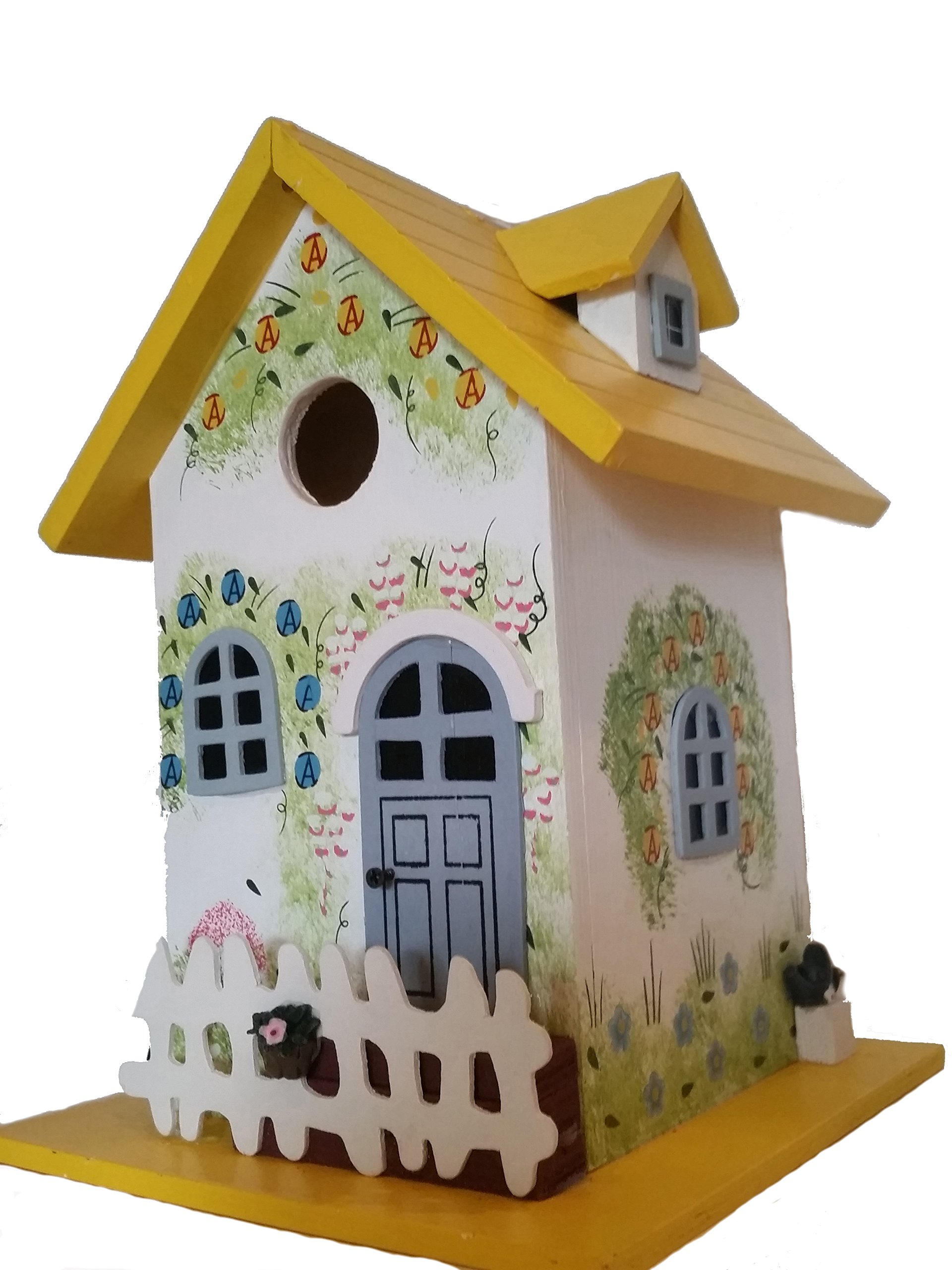The Birdhouse Hut Garden Cottage Birdhouse is decorated to compliment any patio garden this Wood Birdhouse is hand painted with a Colorful Floral Print and a White Pickett Fence