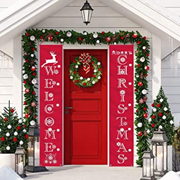 Luckkyy Christmas Banner Decoration Outdoor Indoor Christmas Decorations Weclome Merry Christmas Bright Porch Sign Red Xmas Decor Banner Christmas