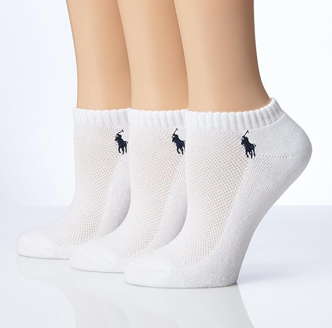 Ralph Lauren RL deporte medias cojín pie calcetines 3 par Pack (7370) - Blanco