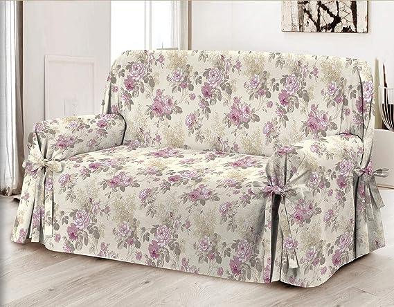 HomeLife – Cubre sofá de 3 plazas – Elegante Protector de sofás con Flores – Funda de sofá de algodón para Proteger del Polvo, Las Manchas y el Desgaste, Fabricado en Italia –