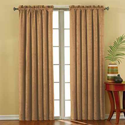 d5e639505723bd Image Unavailable. Image not available for. Color: KOZDIKO Eclipse Plush  Solid Thermal Blackout Window Curtain Panel, Gold Sand