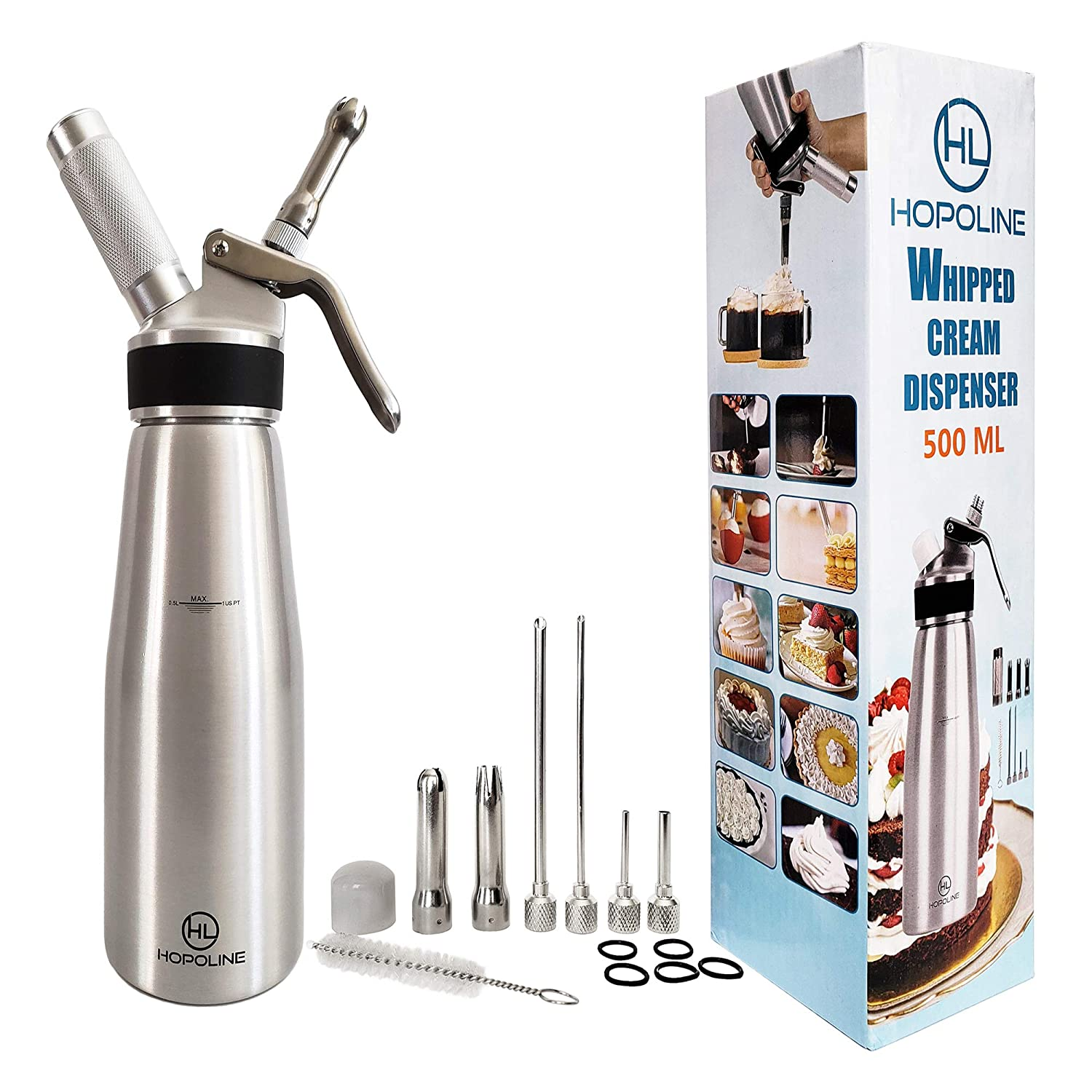 Professional Whipped Cream Dispenser, Durable Aluminum Alloy Whip Cream Dispensers, Whipped Cream Maker Canister, Compatible with All Brands of 8-Gram N2O Cartridges- Not Included