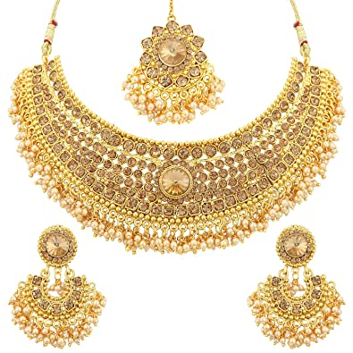 24f221b83 Buy Sukkhi Jewellery Sets for Women (Golden) (N72392ADHT112017) Online at Low  Prices in India