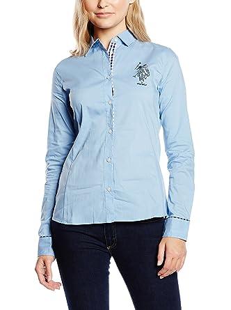 US Polo Assn. Camisa Mujer Azul Claro S: Amazon.es: Ropa y accesorios
