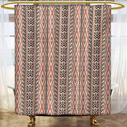 Lacencn SouthwesternShower Curtains Digital PrintingTraditional Vertical Borders Inspired By Primitive Art Ikat