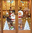 Christmas Window Stickers,Santa Snowflake Sled DIY Wall Décor Removable Self-Adhesive Wall Mural Decals Sticker Clings Xmas Stickers for Holiday Showcase Window Door Decoration (Style 1)