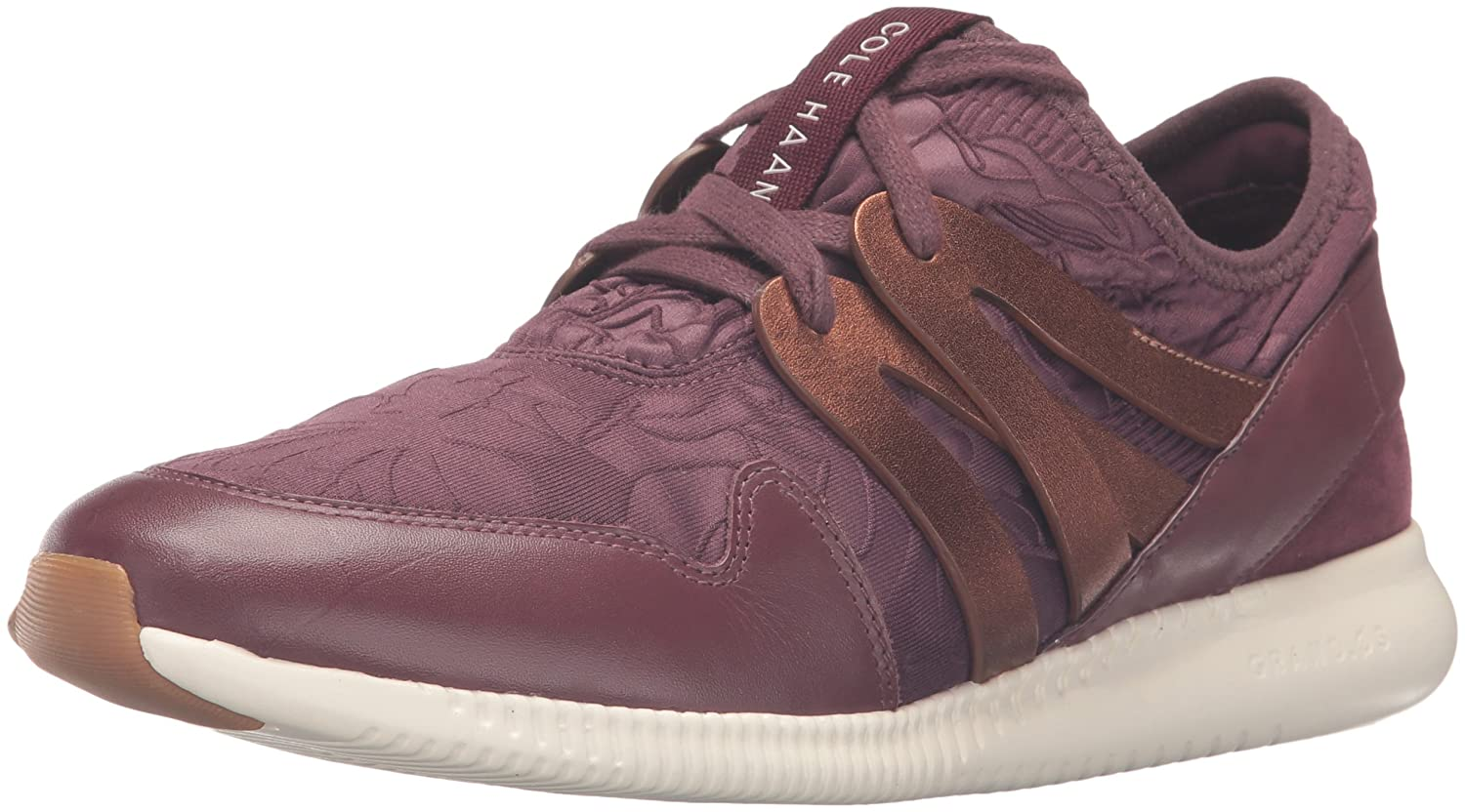 Cole Haan Women's 2.0 Studiogrand Trainer Fashion Sneaker B01ITEIDHK 6.5 B(M) US|Deep Berry Floral Embossed Neoprene/Leather/Deep Copper Metallic Leather/Ivory