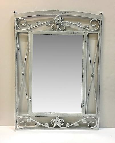 Specchio da muro con cornice in ferro decapato shabby, ricamo ...