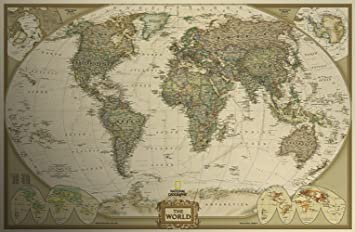 Amazon fange world map antique vintage old style decorative fange world map antique vintage old style decorative educational poster print wall decor 29 gumiabroncs Choice Image