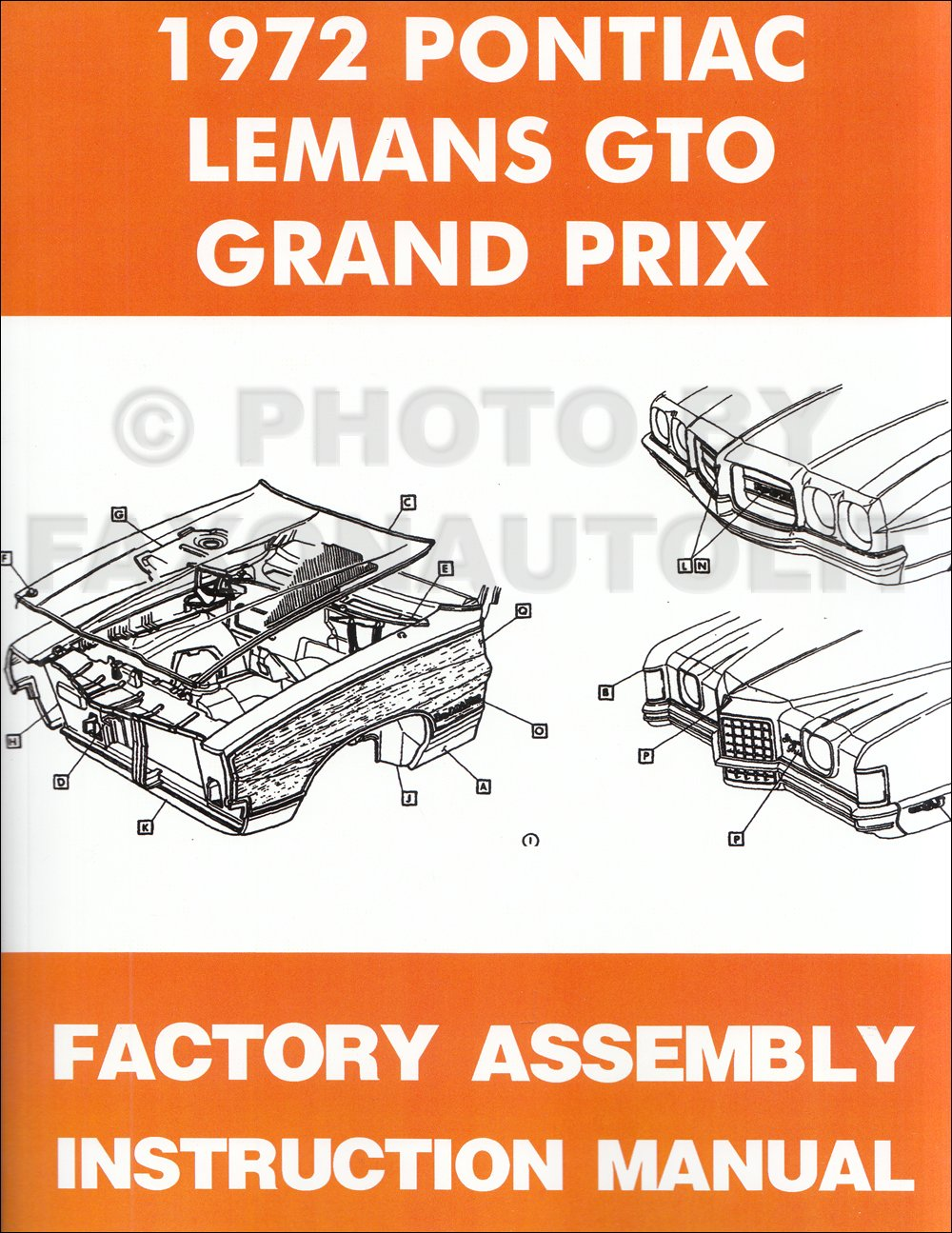 1972 Pontiac Lemans Gto And Grand Prix Assembly Manual Reprint Wiring Diagram Books