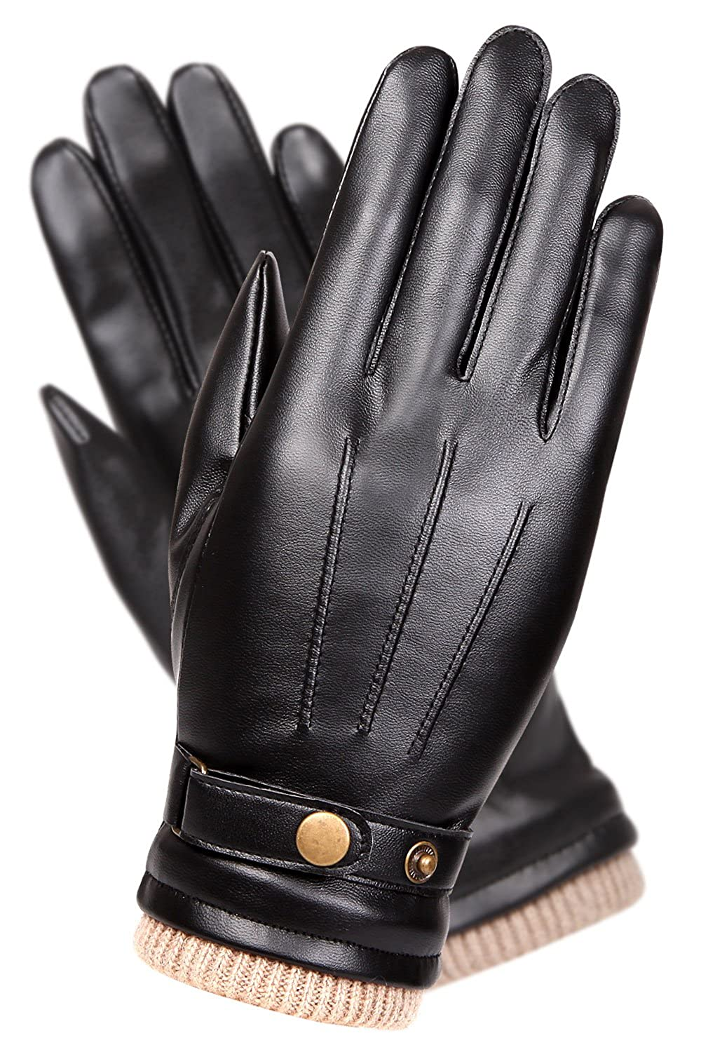 Mens leather gloves for iphone - Mens Touchscreen Texting Winter Pu Leather Gloves Driving Outdoor Long Fleece Lining 8 Black At Amazon Men S Clothing Store