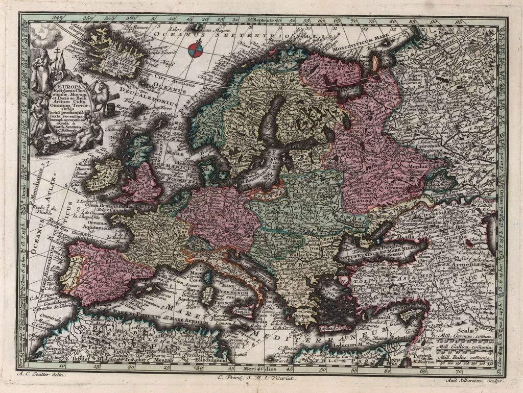 Lais Puzzle Matthäus Seutter Landkarte - Atlas Novas Indicibus Instructus (1744) - Europa - Motivserie 2000 Teile
