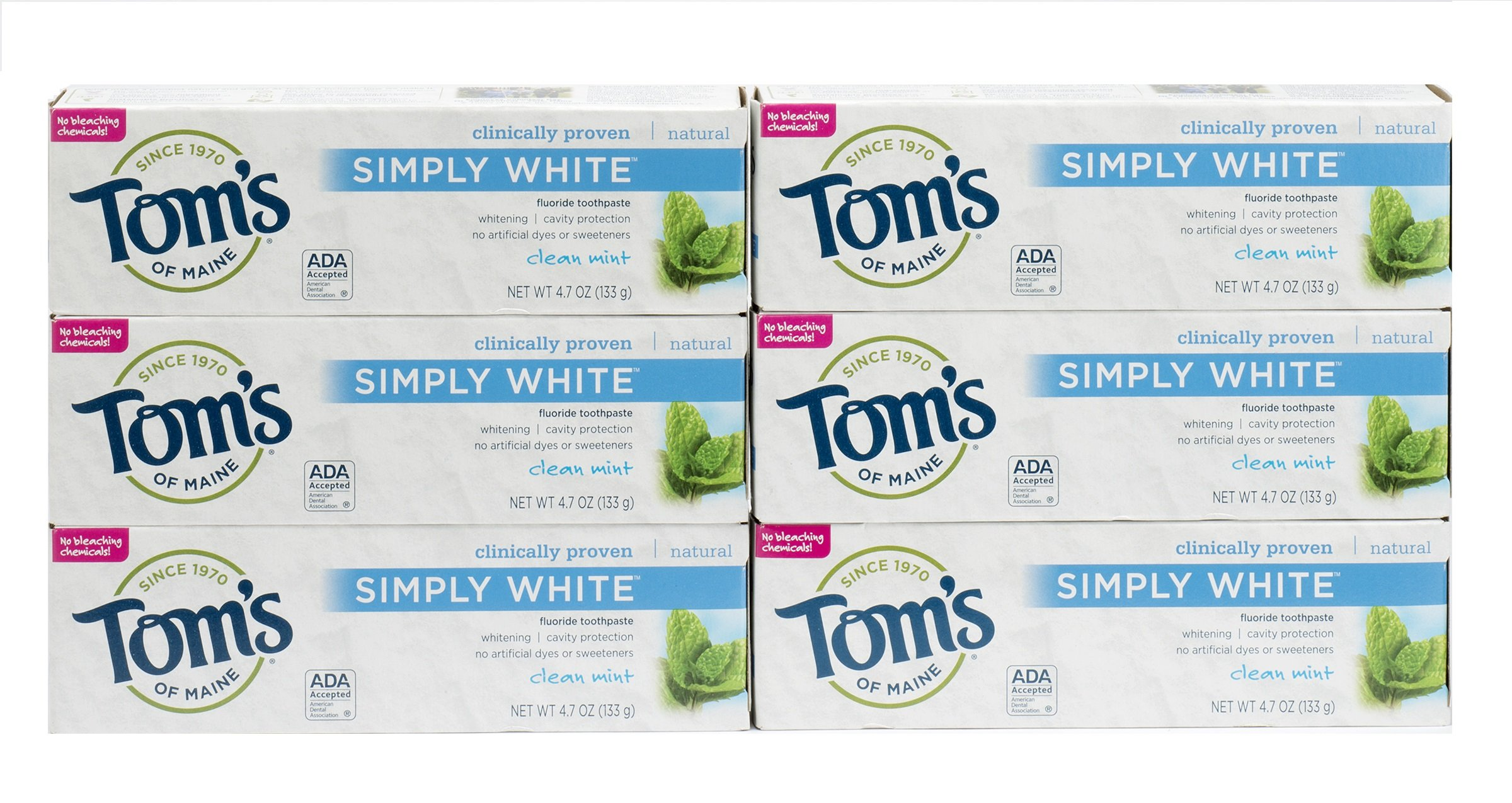Tom's of Maine Simply White Natural Toothpaste, Clean Mint , 4.7 Ounce, Pack of 6
