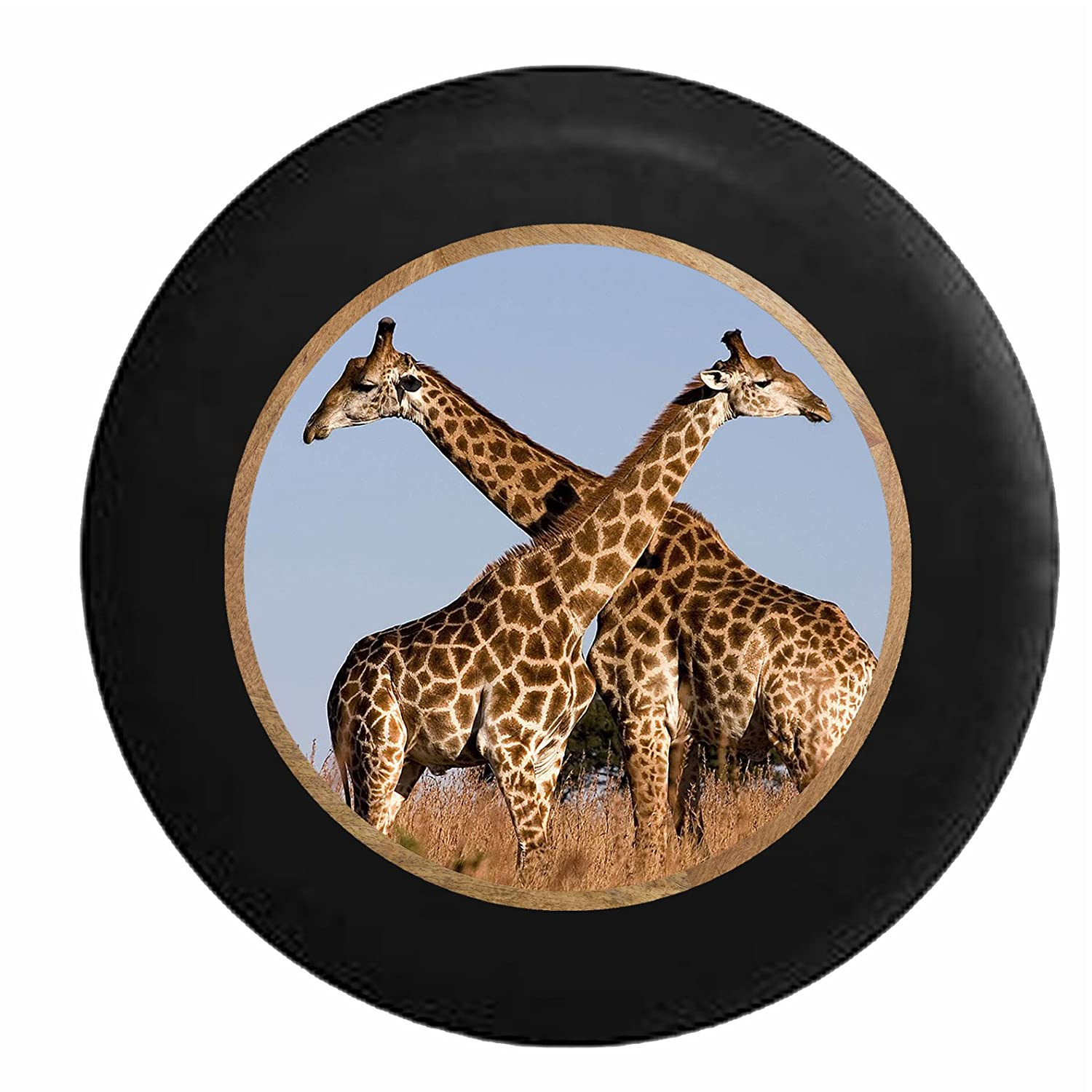 Full Color Giraffe Couple in the African Sahara Jeep RV Camper Spare Tire Cover Black 31 in Pike Outdoors