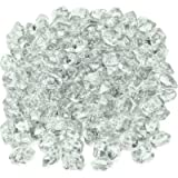 Mr. Fireglass 1/2-Inch Polygon Fire Glass for Fireplace Fire Pit & Lanscaping, 10 Pounds High Luster Crystal Ice