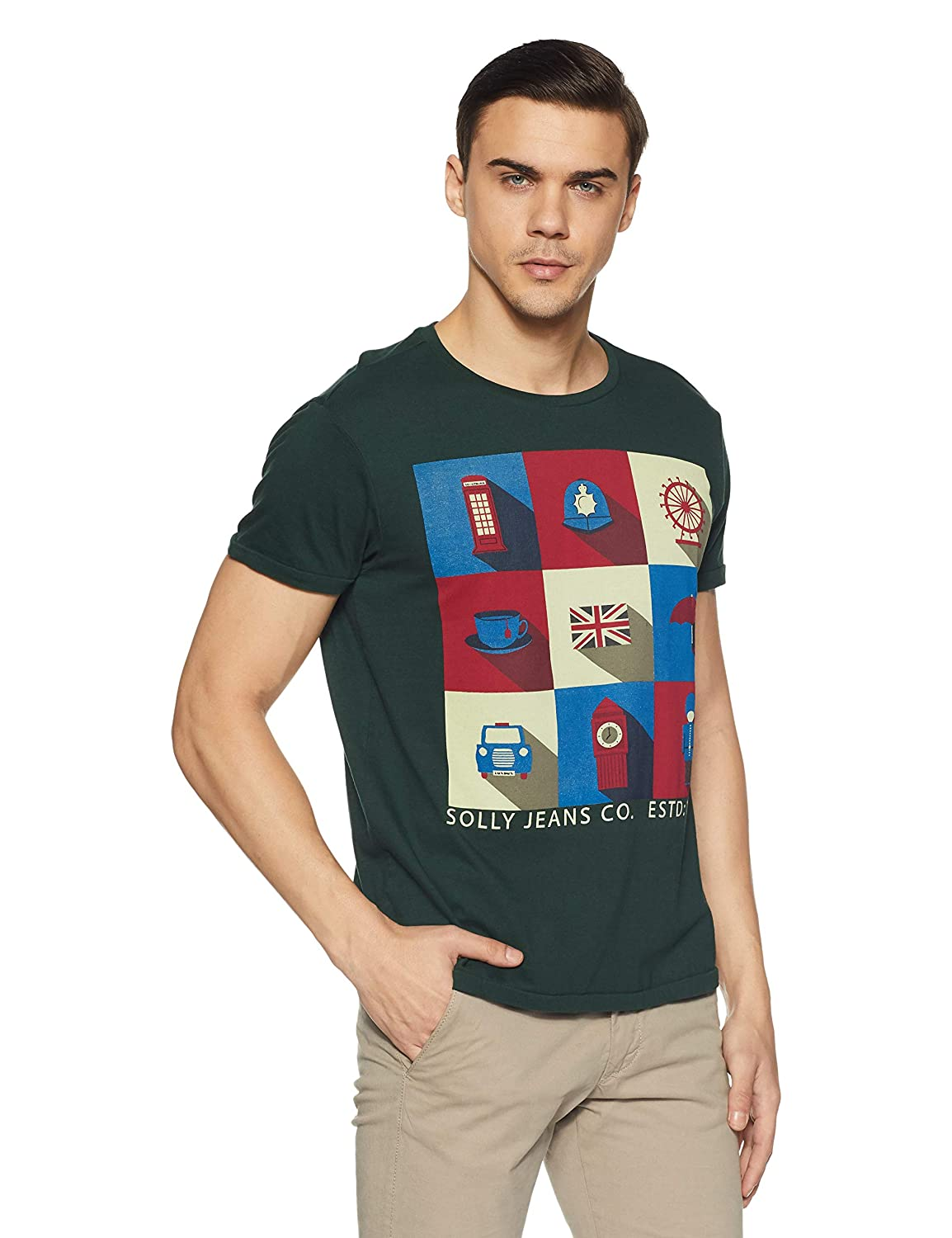 0a7c4df73b Solly Jeans Co Men s Printed Slim Fit T-Shirt  Amazon.in  Clothing    Accessories