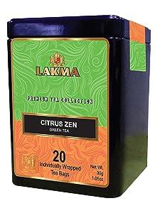 Lakma Premium Collection Citrus Zen Green Tea - 20 Tea Bags 100% Natural, Sugar Free, Gluten Free and Non-GMO)