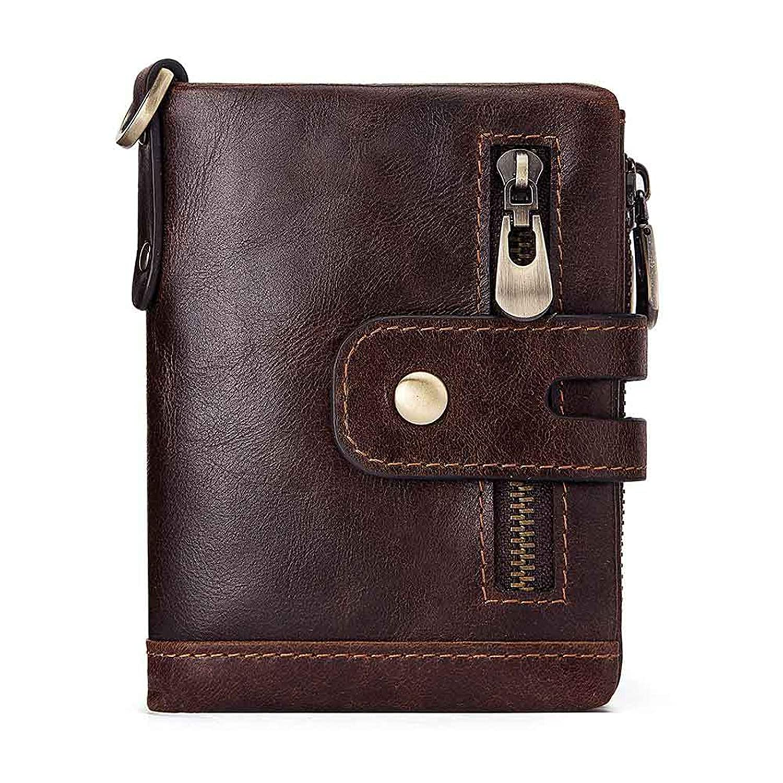 Epinki Leather Wallet for Men Bifold Multifunction Wallet Brown Handbag