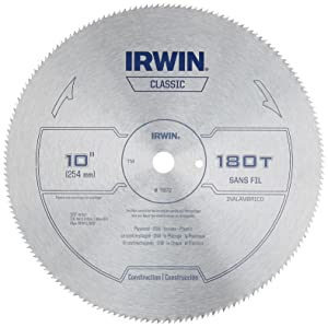 IRWIN Tools Classic Series Steel Table / Miter Circular Saw Blade, 10-Inch 180T (11870)