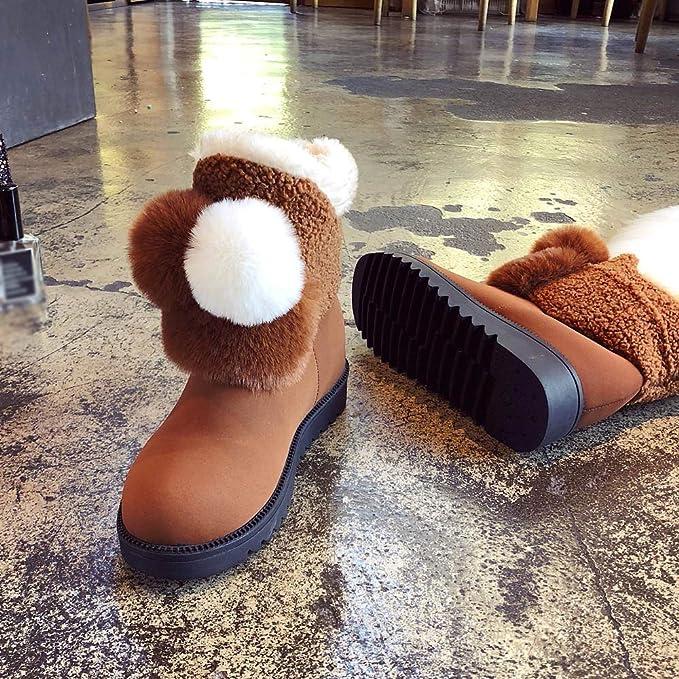 SamMoSon Botas Mujer Nieve Polar Forradas Goretex Y Agua,Zapatos Planos De Invierno para Mujeres Mantener Cálidas Botas para La Nieve Botas Sin Cordones De ...