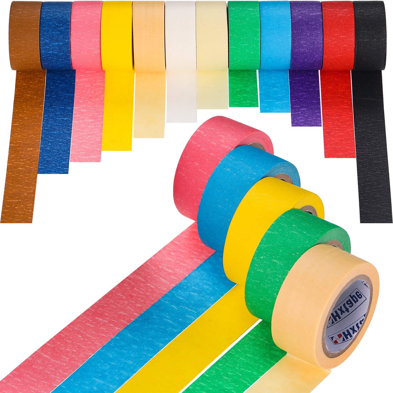 Colored Masking Tape Kids Craft Set, 12 Rolls Total 393.6 Feet Masking Tape 1 Inch Colored Tape DIY Arts Kit Label Tape Kids Crafts Coding Tape Tatuo