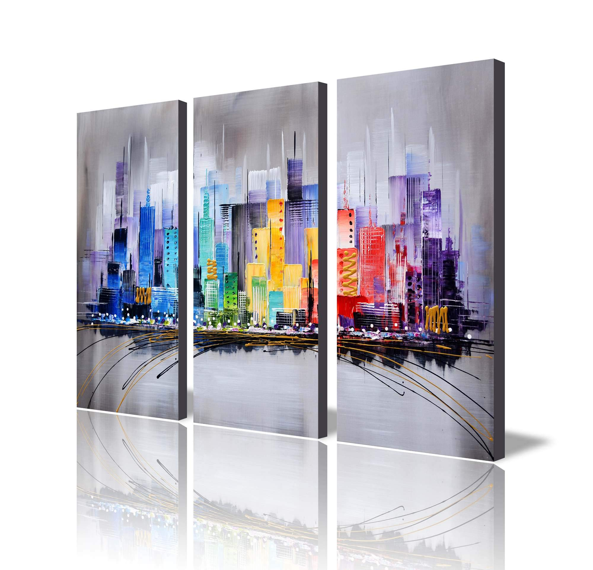 ARTLAND Modern 100% Hand Painted Framed Wall Art Colorful City 3-Piece Gallery-Wrapped Abstract Oil Painting on Canvas Ready to Hang for Living Room for Wall Decor Home Decoration 32x48inches