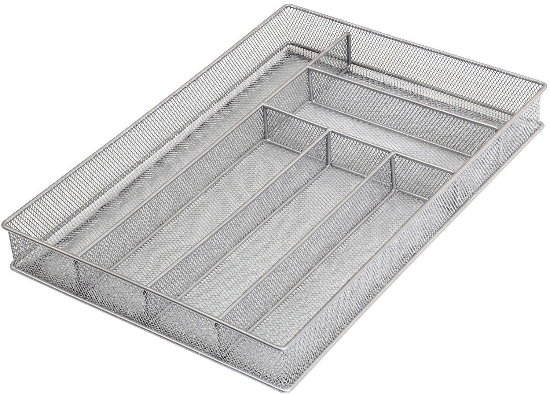 Ybm Home Silver Mesh Kitchen In-Drawer Serving Utensils, Flatware, Cutlery Desk and Office Supplies Organizer/Tray Holder Silverware Storage 16 In. L x 11.25 In. W x 2 In. H 1132s (1, 6 Compartment)
