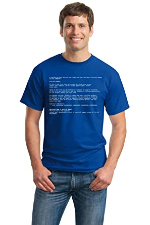 641e02368761 Image Unavailable. Image not available for. Colour: BLUE SCREEN OF DEATH  Adult Unisex T-shirt/Geeky Windows Error Nerd Computer Tee